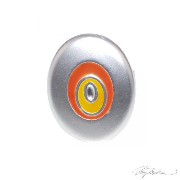 Anillo de Rodio y Esmalte de Diseño Oval Naranja