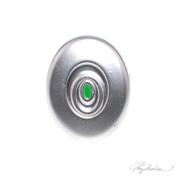 Anillo de Rodio y Esmalte de Diseño Oval Verde y Plata