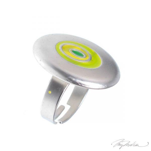 Anillo de Rodio y Esmalte de Diseño Oval Verde y Amarillo