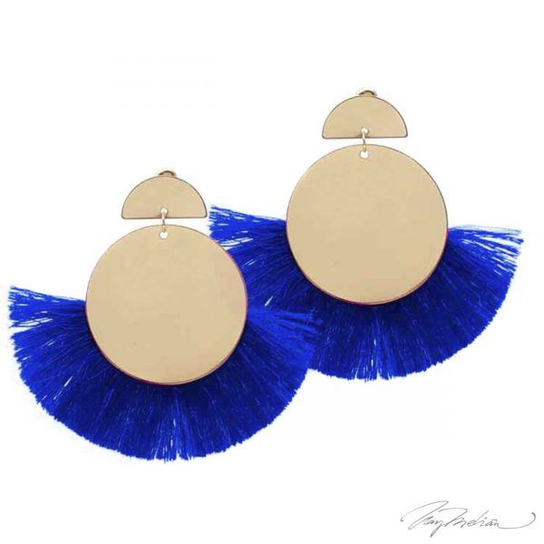 Pendientes Círculo Flecos Azules de la Colección Cervantes