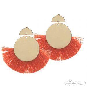 Pendientes Círculo Flecos Naranja de la Colección Cervantes