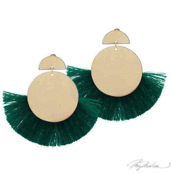 Pendientes Círculo Flecos Verdes de la Colección Cervantes